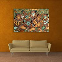 Inephos Wood Abstract Wall Painting, Multicolour, 85cmx55cm