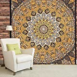 indian-hippie bohemian-psychedelic star-mandala wall-hanging-tapestry-yellow queen-size-large-84X 90