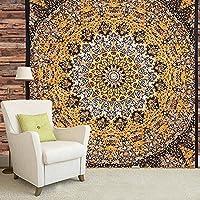 Tapiz con dibujo de mandala para pared estilo India, hippie, bohemio, psicodélico en colores amarillos – Tamaño grande 84 x 90 cm
