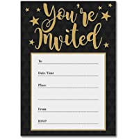 Black/Gold 'You're Invited' Party Invitations - Pack of 16 A6 Cards (With Envelopes)