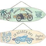 CAPRILO Set de 2 Adornos Pared Decorativos de Madera Tablas Surf Motocicletas. Cuadros y Apliques. Decoración Hogar. Regalos