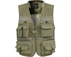 KEFITEVD Men's Outdoor Quick Dry Fishing Vest Breathable Photography Vests Camping Hunting Waistcoat with 16 Pockets