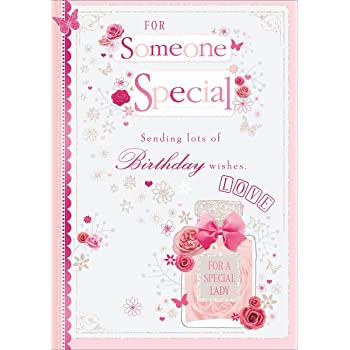 Someone Special Birthday Card Pink Perfume Roses Butterflies