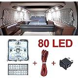 80 LED ljus bar skåpbil interiör ljussatser, LED taklampor kit för skåpbil husvagnar släpvagnar lastbilar Sprinter Ducato Tra