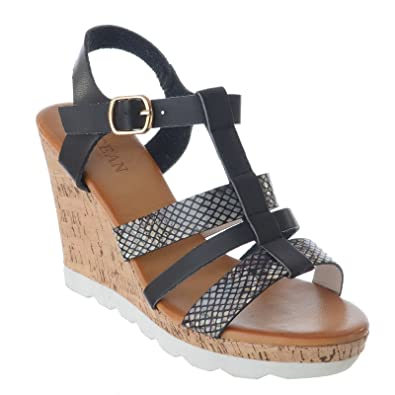 83af4146a02b WOMENS LADIES STRAPPY HIGH CORK PLATFORM WEDGE HEEL ANKLE STRAP BUCKLE  SANDALS SHOES SIZE  Amazon.co.uk  Shoes   Bags