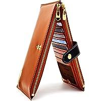 ANDOILT Damen Echt Leder Brieftasche RFID Blockierung Kreditkarte Halter Reißverschluss Geldbörse Handy Handtasche braun