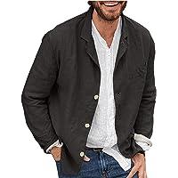 Syliababy Men's Blazer Casual Jacket Autumn Fashion Long Sleeve Casual Cotton Linen Loose Suit Jacket Plain Suit Top…