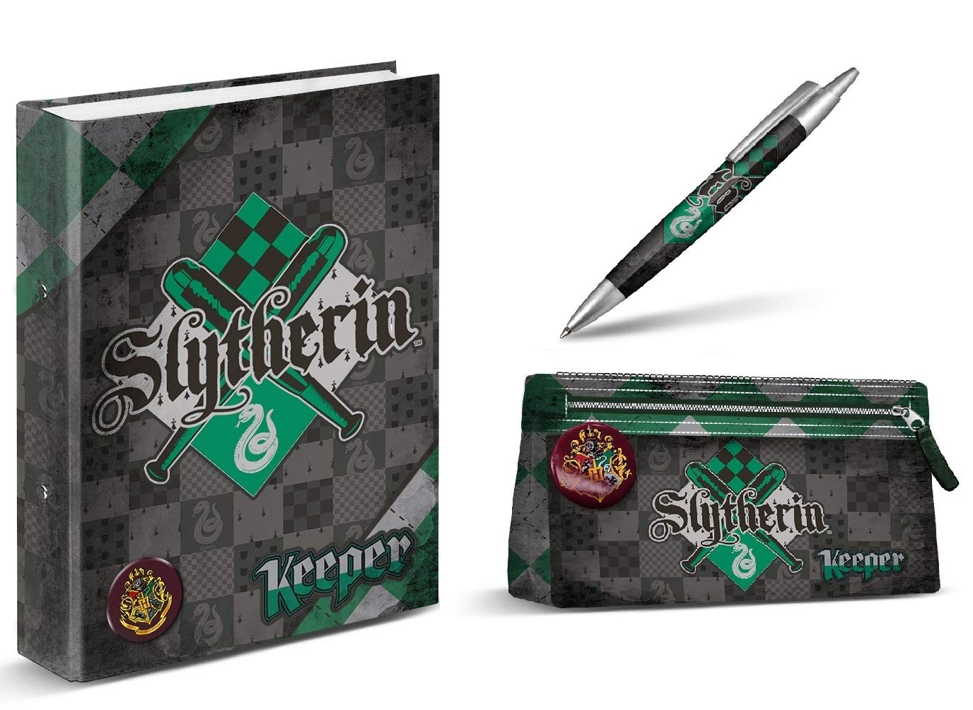 Aucun Carpeta Harry Potter – Slytherin – Estuche de lápices de Harry Potter – Slytherin + Pluma de Harry Potter – Slytherin 14 cm