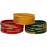 Laal Amrood Glass Bangles For Women Multi Color Chudi Set (24 Bangles)