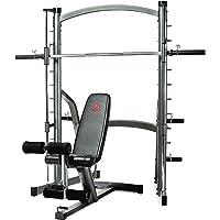 Marcy SM1000 Deluxe - Rack de Squat musculation à charge guidée – Banc de musculation 7 positions