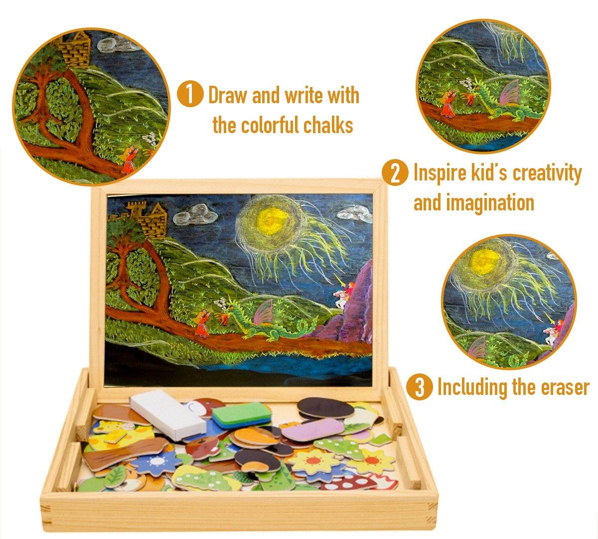 COOLJOY Puzzle Magnetico Legno, Giocattolo di Legno Bambini con Double Face Disegno cavalletto Lavagna, apprendimento educativo per Bambini (Nmodello Animale) 5 spesavip