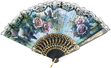 Desi Karigar Summer Floral Pattern Lace Hem Plastic Foldable Hand Fan Multicolor
