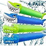 4Pcs Pull Down Type Water Gun Shark Crocodile Water Gun Foam Soaker Summer Game Water Blaster