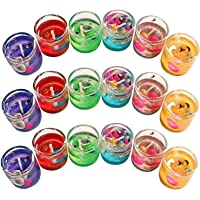 The Party Shopers Luxury Small Multicolor Smokeless Decorated Mini Cute Little Glass Jelly Gel Candles for Home Decor…