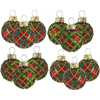 Mini Tartan Glass Bauble Tree Decorations. Set of 12: Amazon.co.uk ...