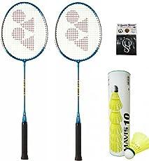 Yonex GR 303 Badminton Racquet ;Blue; Colour ;(PACK OF 2) & Mavis 10 Nylon Shuttle Cock (Pack of 6) With SportsHouse Brief Wrist Suppo