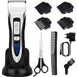 Tondeuse Cheveux Hommes Tondeuse à Cheveux LCD de Lame Céramique avec Sabot 3/6/9/12 mm sans Fil Rechargeable pour Domicile ou Coiffeur ELEHOT