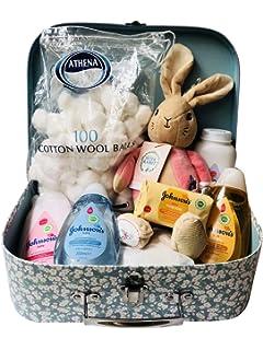 Blue 25 x 19 x 8cm Dumbo Elephant Soft Plush /& Johnsons Toiletries Newborn Baby Gift Hamper Carry Case Suitcase Set