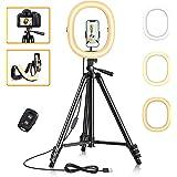 """Cocoda 12"""" Ring Light Pliable avec 129cm Trépied & Support Téléphone Flexible pour Maquillage/Vlog, Anneau Lumineux Selfie av"""