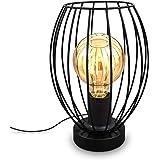 B.K.Licht I Tafellamp I E27 I Kabelschakelaar I 1 lichts vintage tafellamp met metalen kap I Hoogte 25,6 cm I Zwart I zonder