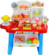 Toys N Smile Supermarket Shop, Mini Market (34 Pieces) Play Toy Set with Light and Sound Effect for Kids