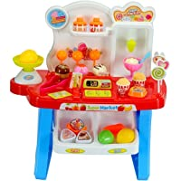 Toys N Smile Supermarket Shop, Mini Market (34 Pieces) Play Toy Set with Light and Sound Effect for Kids-Red