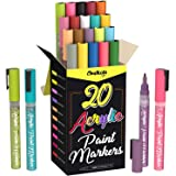 Acrylic Paint Pens for Rock Painting, Stone, Ceramic, Glass, Wood, Canvas - Set of 20 colors, Fine Tip Water based Paint Mark