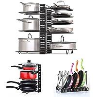 Fimghsoo Porte-casseroles Détachable Support Acier 3 en 1 Organiseur de Poêle avec 8 Compartiments Réglables Rangement…