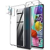 TOCOL Funda Compatible con Samsung Galaxy A51 4G, 2 Piezas Protector de Pantalla 2 Piezas Lente de cámara Vidrio Templado HD
