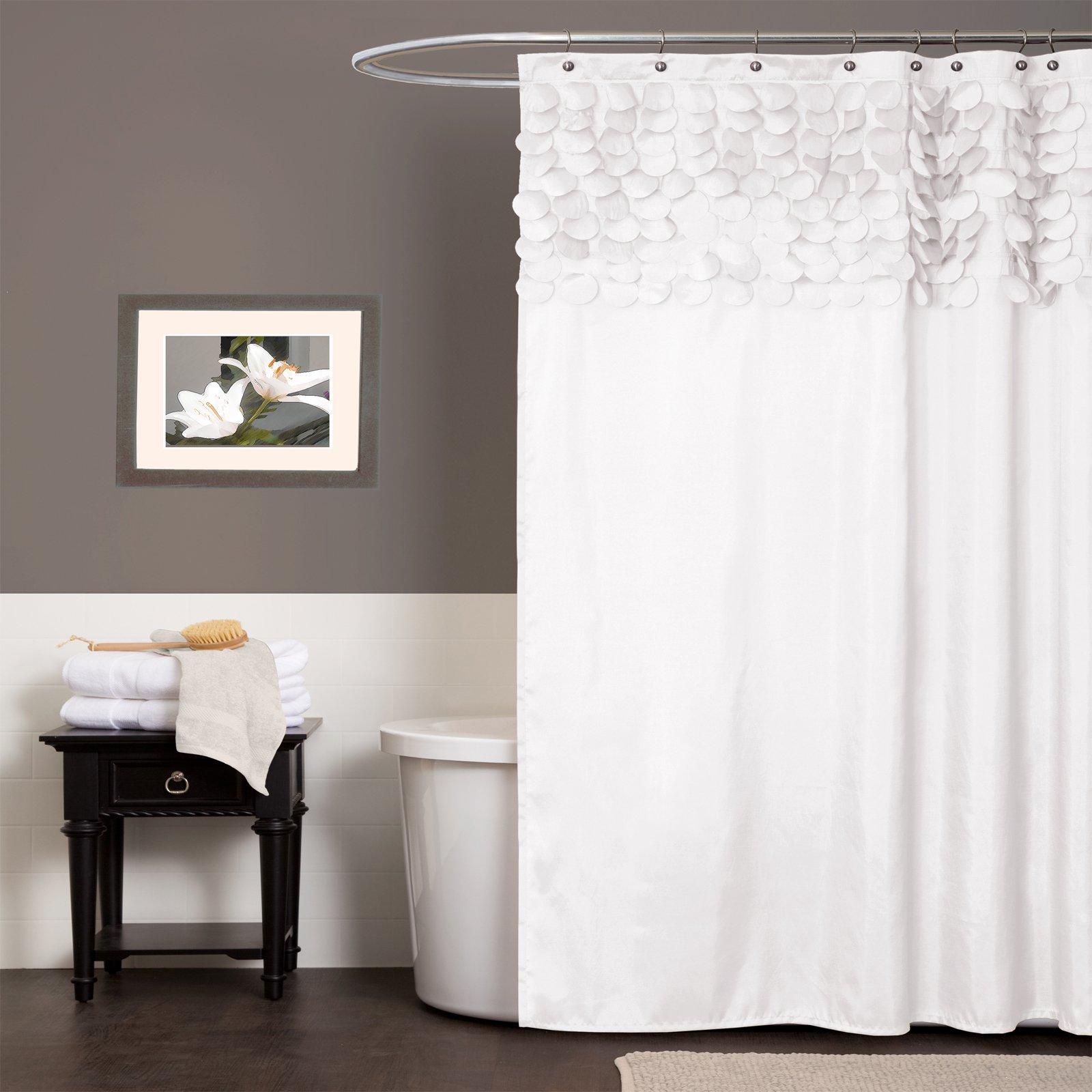 Lush Decor Lillian Shower Curtain, 72 by 72-Inch, White
