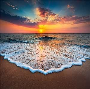 Cassisy 3x3m Vinyl Meer Fotohintergrund Tropisch Sandstrand Blue Sky Sonnenaufgang Vorland Schaum Fotoleinwand Hintergrund Für Fotoshooting