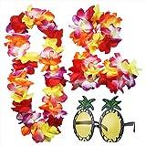 iLoveCos Hawaiian Fancy Dress and Pineapple Sunglasses for Beach Summer Tropical Party Flower Garland Decor Set