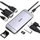 USB C Hub,CHOETECH 9 in 1 Type C Hub Adapter with 4K USB C to HDMI,Ethernet,VGA,100W USB C PD Charging,TF,SD Card Reader,3 US