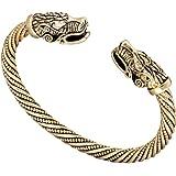 fishhook Vintage Viking Pagan Wolf Head Screw Metal Cuff Bangle Wristband Bracelet Jewelry
