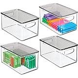mDesign boite stockage à poignées intégrées en lot de 4 – boite rangement avec couvercle pour la cuisine, la salle de bain ou