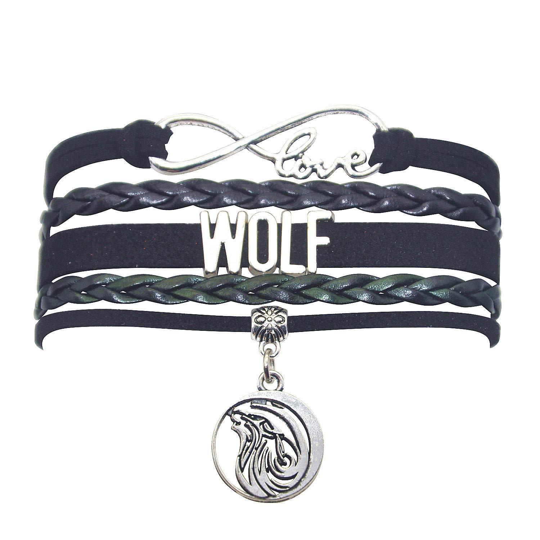 HHHbeauty Wolf Bracelet Jewelry Leather Infinity Love Wolf Gifts Wolf Jewelry Bracelet Gifts for Women, Girls, Men, Boys, Wolf Lovers Popular Infinity Love Charm, Wolf Lover Gifts