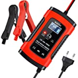 BUDDYGO FBC12050 Fully Automatic Battery Charger, 5A 12V Car Battery Charger & Maintainer- UK Plug, Red