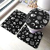 Uliykon, set di tappetini da bagno con motivo a teschio e gatto luna, set di 3 tappetini in memory foam, tappetini antiscivol
