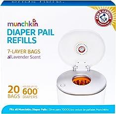 Munchkin Arm & Hammer Diaper Pail Refill Bags 20 Count