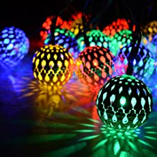 TECHNO E-TAIL Moroccan Metal Balls 17- Led String Decorative Lights for Festival (RGB16MC, Multicolour)
