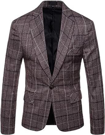 Allthemen Mens Casual Tweed Check Blazer Slim Fit Suit Jacket Business Plaid Blazer Jacket Checked Dinner Suits Coats