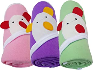 BRANDONN Newborn Original 3PCS. Big Size (36 X 27) Cute Baby Blankets for Babies (Pink, Purple, C-Green; Pack of 3)