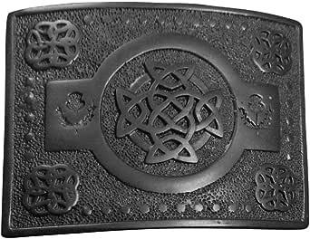 Mens Scottish Kilt Belt Buckle Celtic Knot Work Thistle Design Black Finish/Celtic Belt Buckle