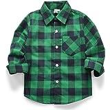 OCHENTA Niño Camisas de Manga Larga a Cuadros para Niñas Corta con Botones para Niños