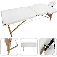 Todeco - Table de Massage Pliante, Table Professionnelle pour Thérapie - Dimensions: 186 x 71 x 62 cm - Hauteur: Réglable 62-83 cm - Blanc, Pieds en bois, Pliable en 2 parties, avec repose-tête, accoudoir, et sac de transport