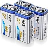EBL 4 Unidades 9V 600mAh Pilas Recargables Li-Ion Alta Capacidad para Alarmas, Dispositivos Médicos, Juquetes y Relojes