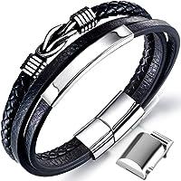 Männer Armband Leder Armreif schwarz Lederband für Herren, geflochten Echtleder Breites Lerderarmband Wickelarmband mit…