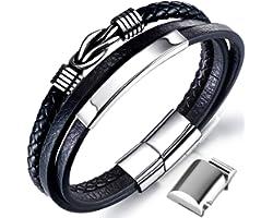 Bracciale da uomo in pelle nera con cinturino in pelle intrecciata in vera pelle larga con chiusura magnetica (cinturino in p