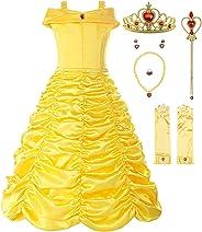 ReliBeauty Mädchen Kleider Brosche Prinzessin Kleid Belle Einfarbig Drop Shoulder Falten Rock Cosplay Kostüme