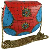 Eshopitude Gift Item Chipped Stone Metal Clutch Red & Blue Onyx Gemstone With Shoulder Chain Brass Women's & Girl's Handbag/C